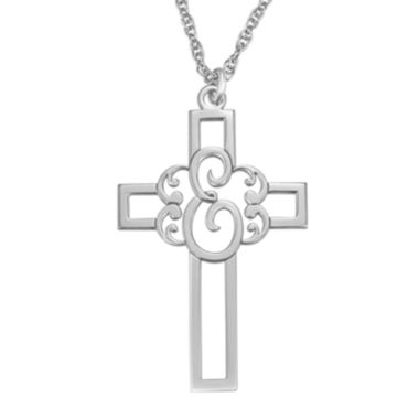 jcpenney.com | Personalized Initial Cutout Cross Pendant Necklace