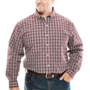 Arrow® Long-Sleeve Plaid Poplin Shirt - Big & Tall