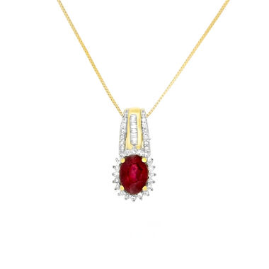 jcpenney.com | Womens 1/10 CT. T.W. Red Ruby 10K Gold Pendant Necklace