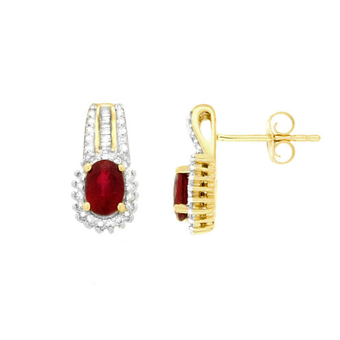 Lead Glass-Filled Ruby and Diamond Accent Drop Earrings in 10K Gold
