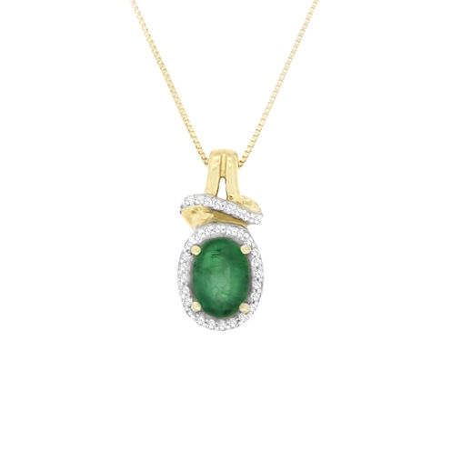 Womens 1/10 CT. T.W. Genuine Emerald 10K Gold Pendant Necklace