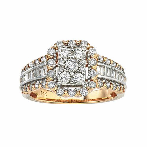 Diamond Blossom Womens 1 CT. T.W. Round White Diamond 14K Gold Engagement Ring