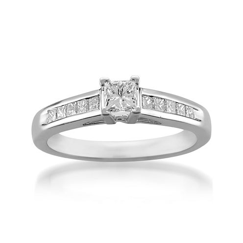 Womens 5/8 CT. T.W. Princess White Diamond Platinum Engagement Ring
