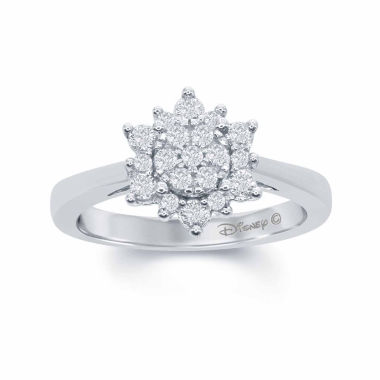 "jcpenney.com | Enchanted by Disney 3/8 C.T. T.W. Diamond 10K White Gold ""Frozen"" Snow Cluster Ring"