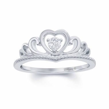 "jcpenney.com | Enchanted by Disney Diamond Accent Sterling Silver ""Disney Princess"" Crown with Heart Ring"