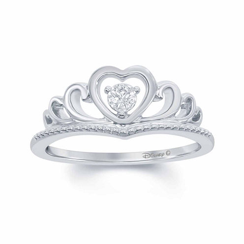 """Enchanted by Disney Diamond Accent Sterling Silver """"Disney Princess"""" Crown with Heart Ring"""