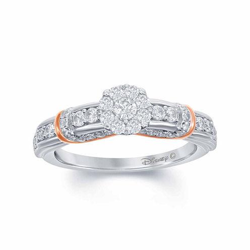 "Enchanted by Disney 5/8 C.T. T.W. Diamond 14K White Gold ""Disney Princess"" Layered Gown Ring"