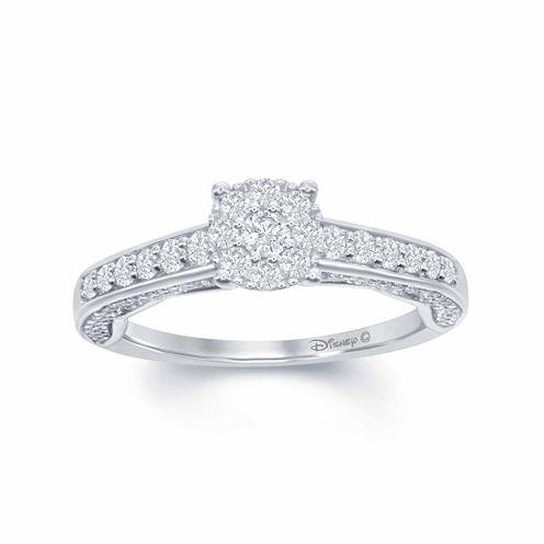 "Enchanted by Disney 3/4 C.T. T.W. Diamond 14K White Gold ""Disney Princess"" Gown Outline Ring"