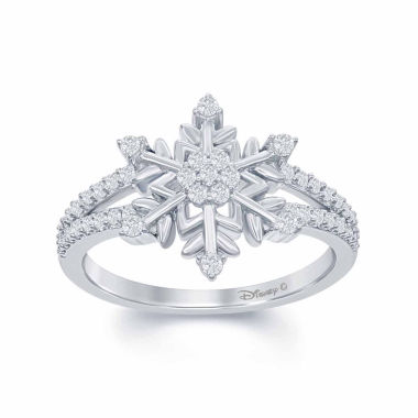 "jcpenney.com | Enchanted by Disney 1/4 C.T. T.W. Diamond ""Frozen"" Snowflake Ring In Sterling Silver"