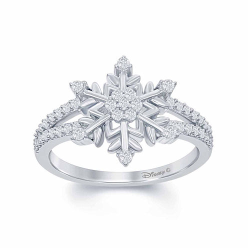 "Enchanted by Disney 1/4 C.T. T.W. Diamond ""Frozen"" Snowflake Ring In Sterling Silver"
