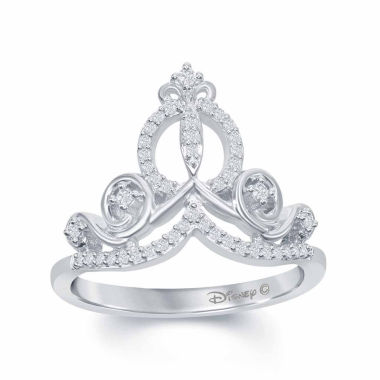 "jcpenney.com | Enchanted by Disney 1/6 C.T. T.W. Diamond ""Cinderella"" Ring In Sterling Silver"