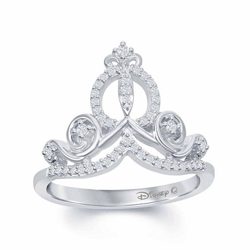 """Enchanted by Disney 1/6 C.T. T.W. Diamond """"Cinderella"""" Ring In Sterling Silver"""
