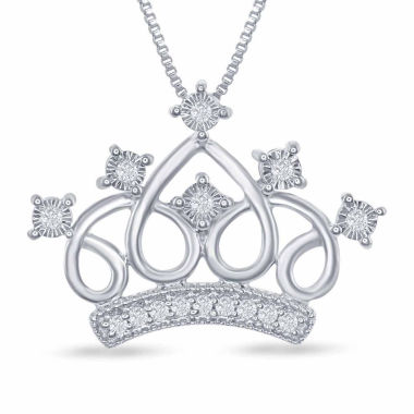 "jcpenney.com | Enchanted by Disney 1/10 C.T. T.W. ""Cinderella"" Tiara Pendant Necklace In Sterling Silver"