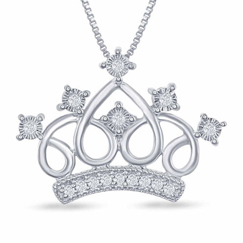 "Enchanted by Disney 1/10 C.T. T.W. ""Cinderella"" Tiara Pendant Necklace In Sterling Silver"