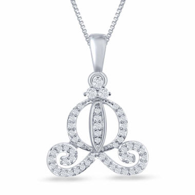 "jcpenney.com | Enchanted by Disney 1/5 C.T. T.W. Diamond ""Cinderella"" Carriage Pendant Necklace In Sterling Silver"
