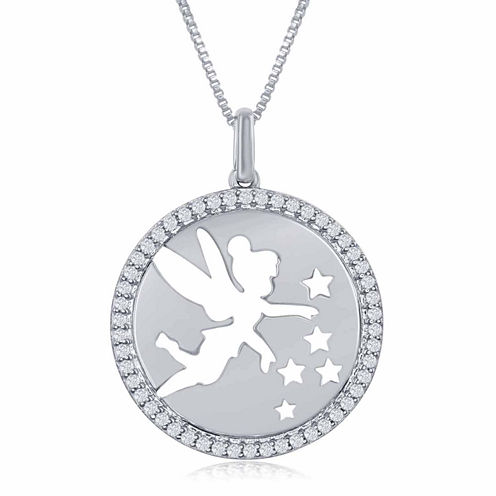"""Enchanted by Disney 1/5 C.T. T.W. Diamond """"Tinker Bell"""" Disc Pendant Necklace In Sterling Silver"""