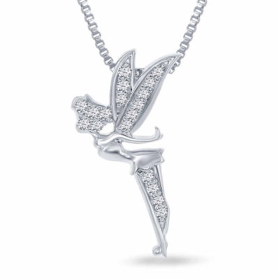 Enchanted disney fine jewelry 110 ct tw diamond tinker bell enchanted disney fine jewelry 110 ct tw diamond tinker bell pendant necklace in aloadofball Images