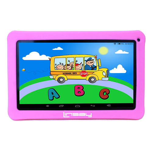 """LINSAY® New 10.1"""" Kids Funny Tab Quad Core 1024x600 HD 8GB with Pink Kids Defender Case"""