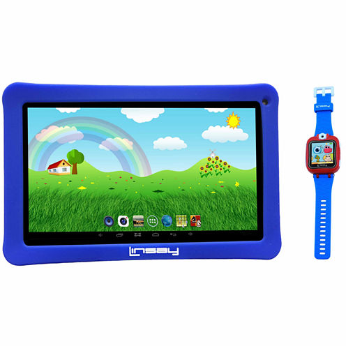 """LINSAY® Kids Bundle with Blue Kids Smartest Watch on Earth with Camera and 10.1"""" Quad Core 1024x600 HD Kids Tablet with Blue Kids Defender Case"""