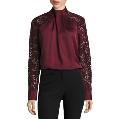 jcpenney.com | Worthington Long Sleeve Mock Neck Woven Blouse-Talls