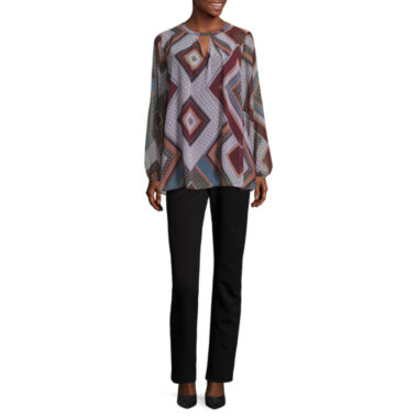 jcpenney.com | Alyx Long Sleeve Scoop Neck Chiffon Blouse or Alyx® Slim-Leg Millennium Pants