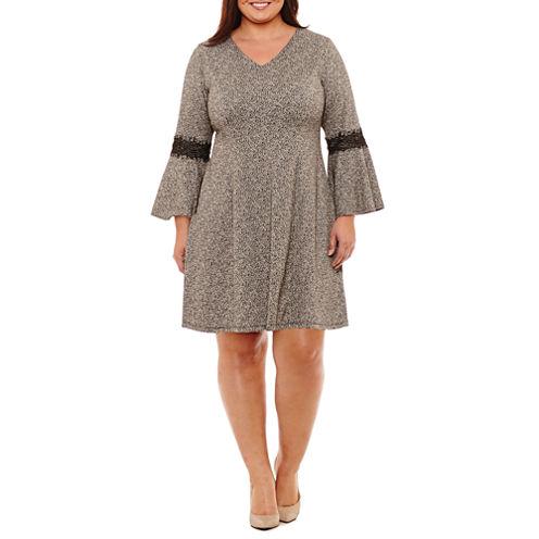 Robbie Bee Long Sleeve Fit & Flare Dress-Plus