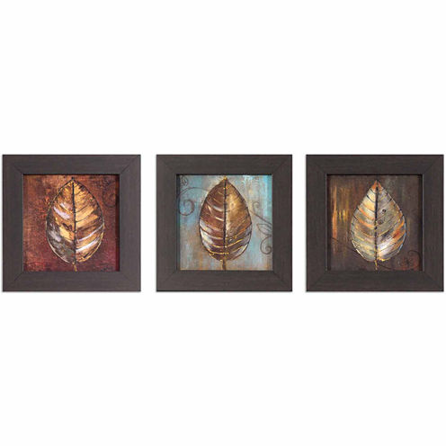 Decor Therapy Painted Leaves in Black and Gold Wood Grain Frame - Set of 3