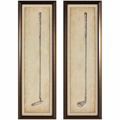 Decor Therapy Vintage Golf Clubs in Golden Bronze Frame - Set of 2