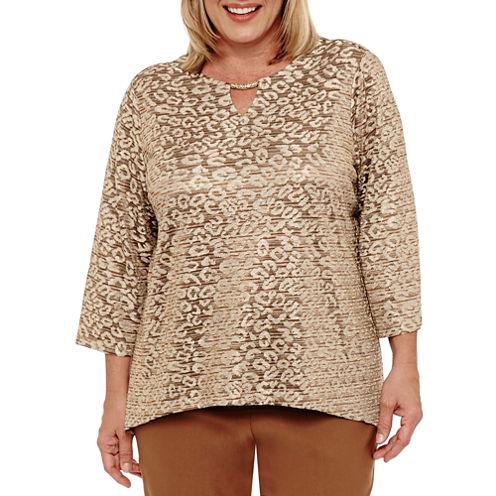 Alfred Dunner Jungle Habitat 3/4 Sleeve Animal T-Shirt-Womens Plus