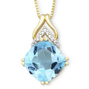 Cushion-Cut Blue Topaz Pendant With Diamond Accents Necklace
