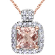 Pink Morganite & Diamond Pendant