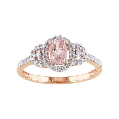 jcpenney.com | Genuine Morganite and Diamond 10K Rose Gold Ring