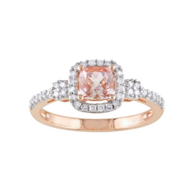 jcpenney.com | Cushion-Cut Genuine Morganite & Diamond 10K Rose Gold Ring