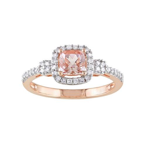 Cushion-Cut Genuine Morganite & Diamond 10K Rose Gold Ring