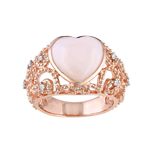 Heart-Shaped Opal & Diamond-Accent Vintage-Style Ring