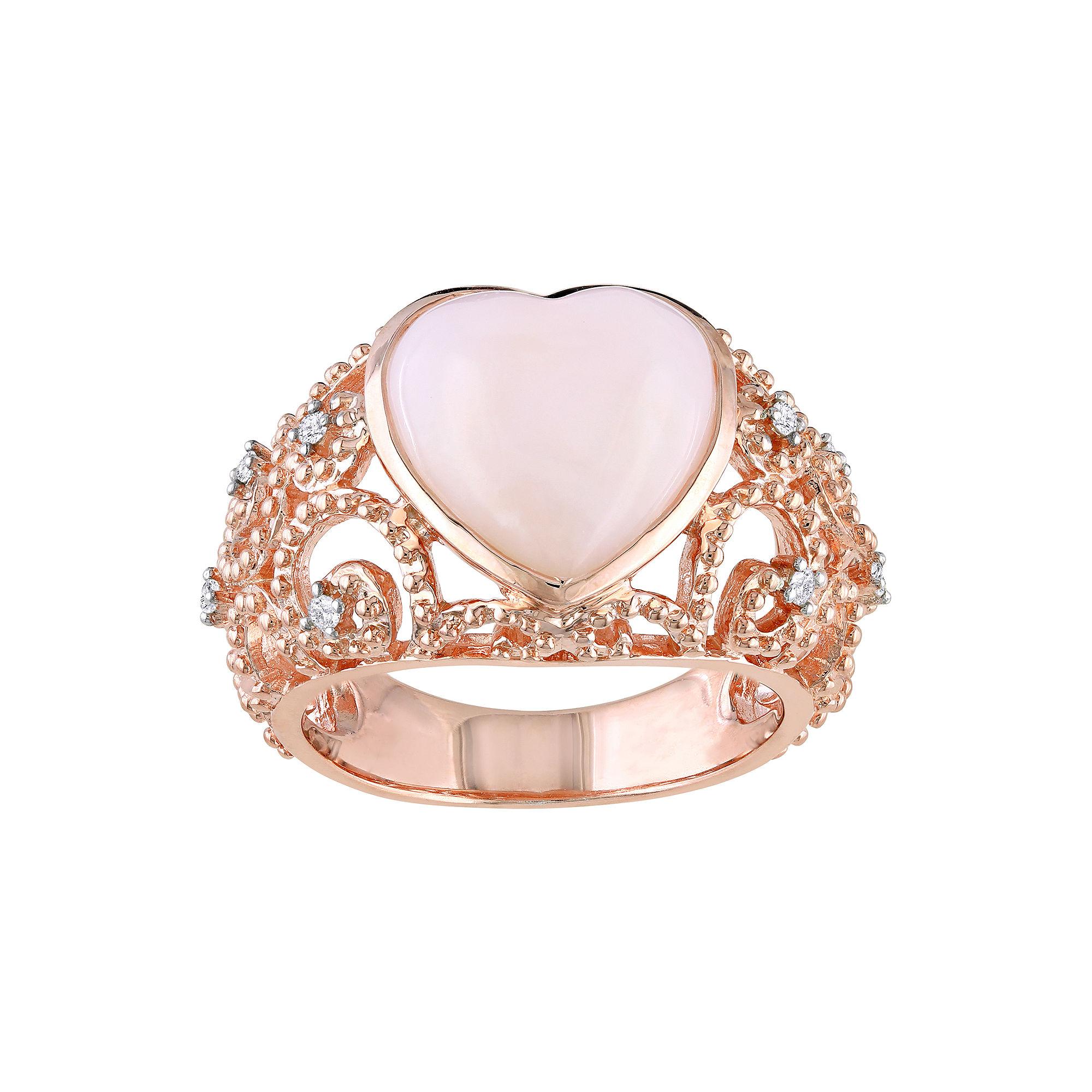Heart-Shaped Opal & Diamond-Accent Vintage-Style Ring plus size,  plus size fashion plus size appare