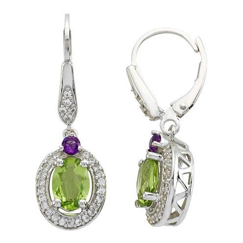 Multi-Gemstone Oval Drop Earrings