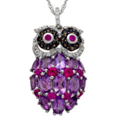jcpenney.com | Sterling Silver Multi-Gemstone Owl Pendant Necklace