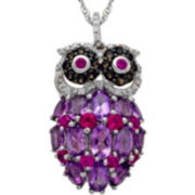 Sterling Silver Multi-Gemstone Owl Pendant Necklace
