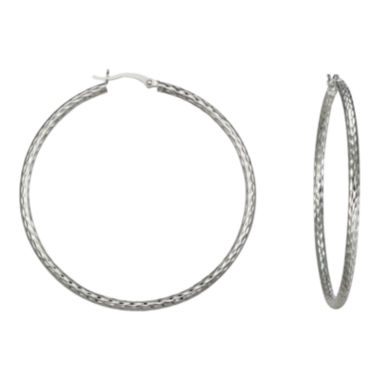 jcpenney.com | Diamond-Cut Hoop Earrings Sterling Silver