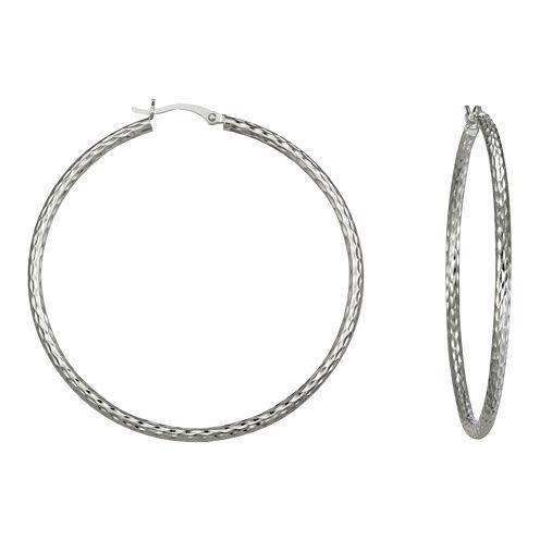 Diamond-Cut Hoop Earrings Sterling Silver