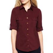 Worthington® Roll-Sleeve Belted Poplin Shirt