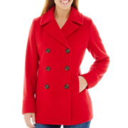 St. John's Bay® Wool-Blend Pea Coat - Petite
