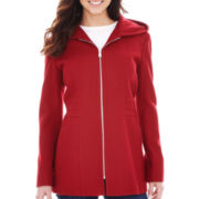 Avanti Zip-Front Hooded Wool-Blend Coat