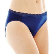 Ambrielle® Lace-Trim Seamless High-Cut Panties