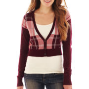 Arizona Long-Sleeve Cropped Plaid Cardigan