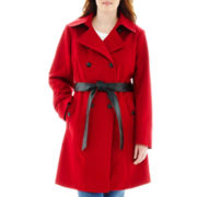 a.n.a® Double-Breasted Belted Wool-Blend Coat - Plus