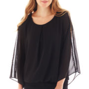 by&by Long-Sleeve Chiffon Bubble Hem Peasant Top