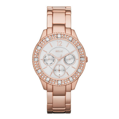 jcpenney.com | Relic® Sophia Womens Crystal-Accent Rose-Tone Bracelet Sport Watch ZR15741