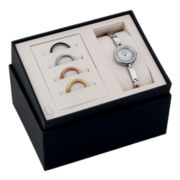 Bulova® Womens Interchangeable Bezel Stainless Steel Bracelet Watch Set